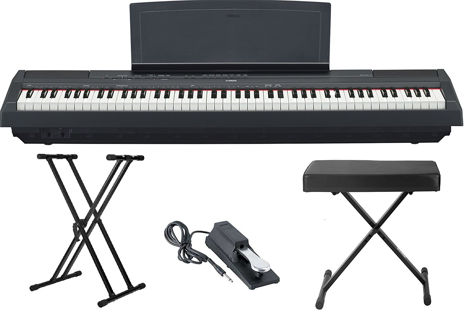 yamaha p115 88 weighted key digital piano bundle with knox double x stand knox large bench and. Black Bedroom Furniture Sets. Home Design Ideas