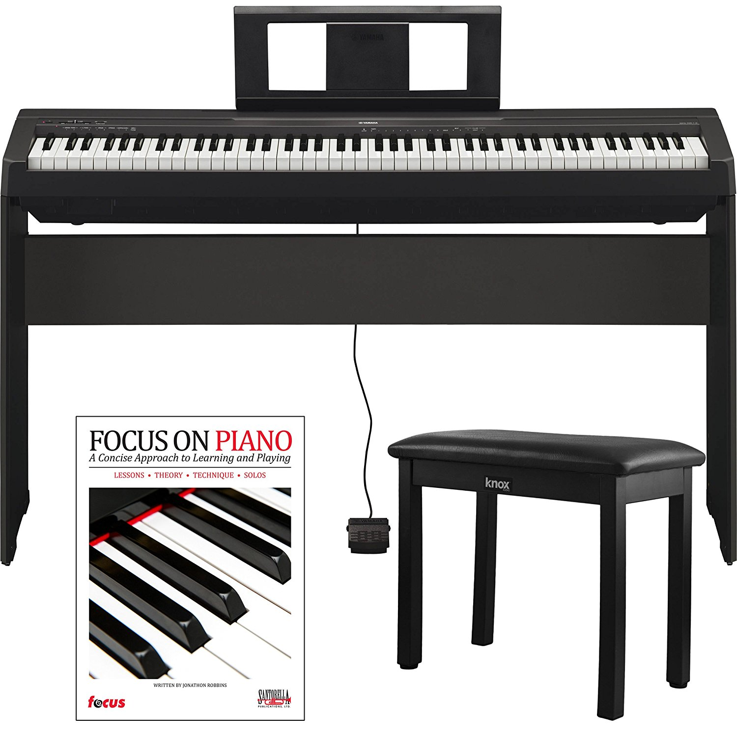yamaha p45 88 weighted keys digital piano with yamaha l85 furniture stand knox bench and focus. Black Bedroom Furniture Sets. Home Design Ideas